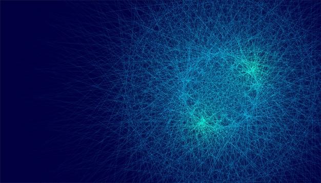 Fundo abstrato caótico com linhas brilhantes azuis