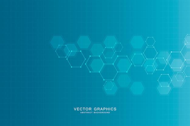 Fundo abstrato ciência com hexágonos e moléculas