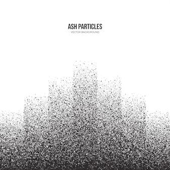 Fundo abstrato cinza escuro de partículas de cinza dispersas