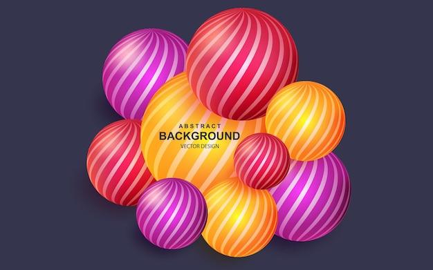 Fundo abstrato colorido com composição de bolas realistas
