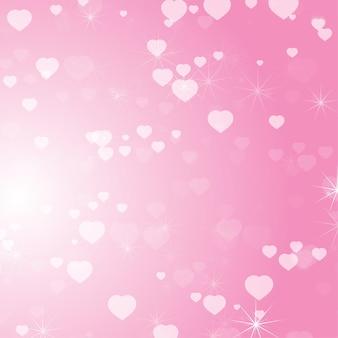 Fundo abstrato colorido romântico com corações de tamanhos diferentes.