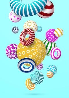 Fundo abstrato com a bola e anel decorativos coloridos. vetor eps10.