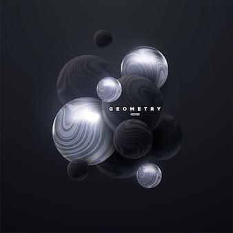 Fundo abstrato com aglomerado de esferas 3d pretas e prateadas