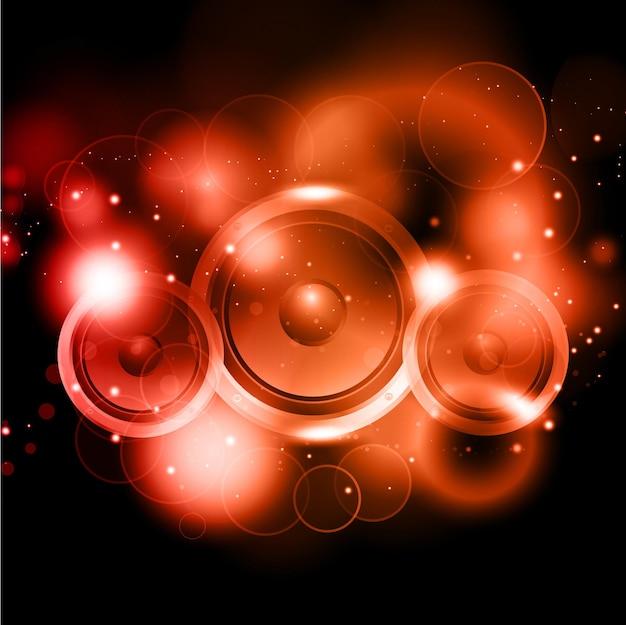 Fundo abstrato com alto-falantes e luzes brilhantes
