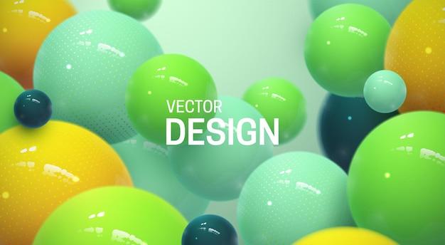 Fundo abstrato com bolas multicoloridas brilhantes Vetor Premium