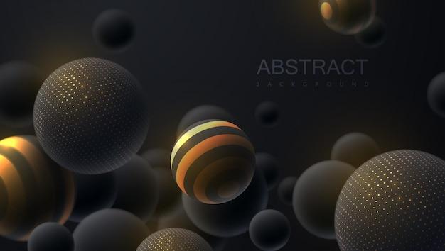 Fundo abstrato com bolas pretas brilhantes