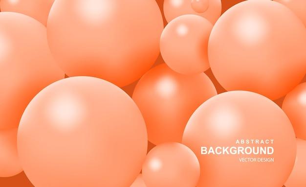Fundo abstrato com bolas realistas caindo e dinâmicas bolhas coloridas