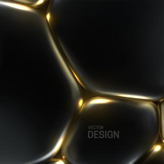 Fundo abstrato com bolhas macias pretas e douradas