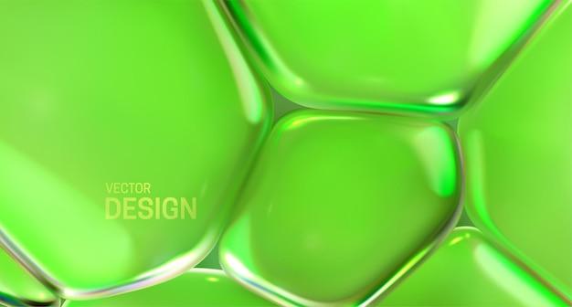 Fundo abstrato com bolhas verdes transparentes Vetor Premium