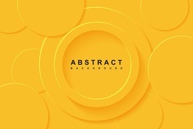 Fundo abstrato com camada de papel cortada em círculo 3d amarelo