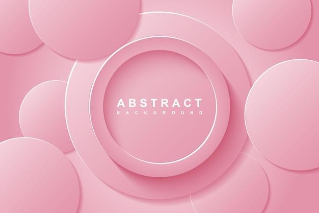 Fundo abstrato com camada de papel recortado em círculo 3d rosa