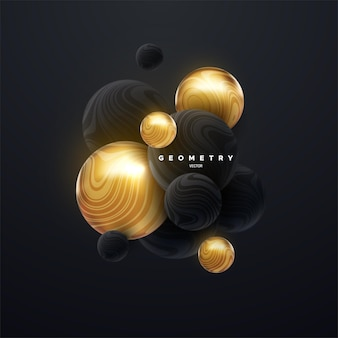 Fundo abstrato com cluster 3d de esferas pretas e douradas
