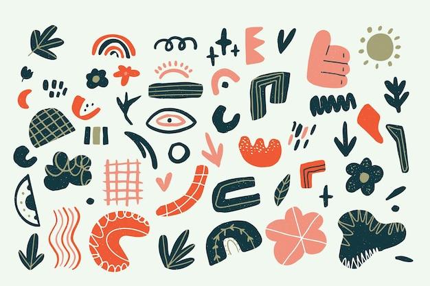 Fundo abstrato com coleção de diferentes elementos