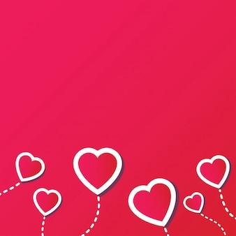 Fundo abstrato com coração vermelho