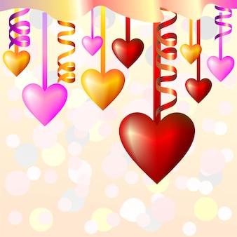 Fundo abstrato com corações e fitas