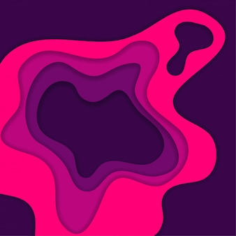 Fundo abstrato com corte de papel 3d rosa e roxo