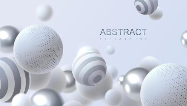 Fundo abstrato com esferas 3d brancas e prateadas