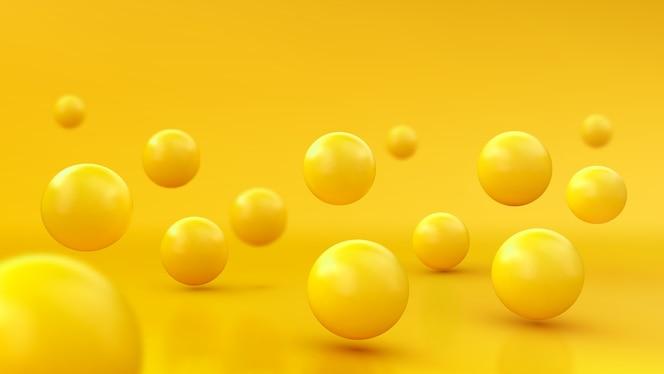 Fundo abstrato com esferas 3d dinâmicas. bolhas amarelas. de bolas brilhantes. design de banner moderno e moderno