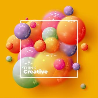 Fundo abstrato com esferas 3d dinâmicas. ilustração em vetor de bolas brilhantes. banner na moda moderno ou design de cartaz