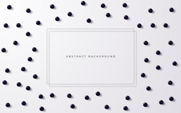 Fundo abstrato com esferas 3d escuras e moldura para texto