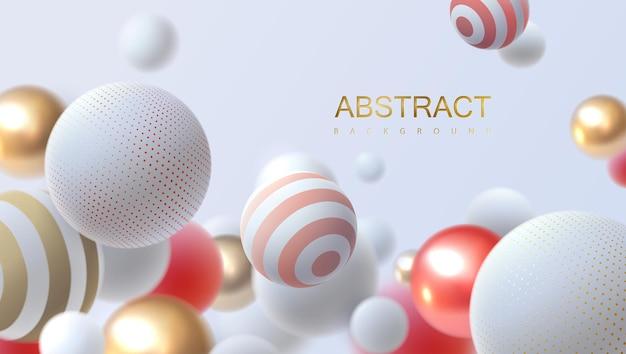 Fundo abstrato com esferas 3d multicoloridas