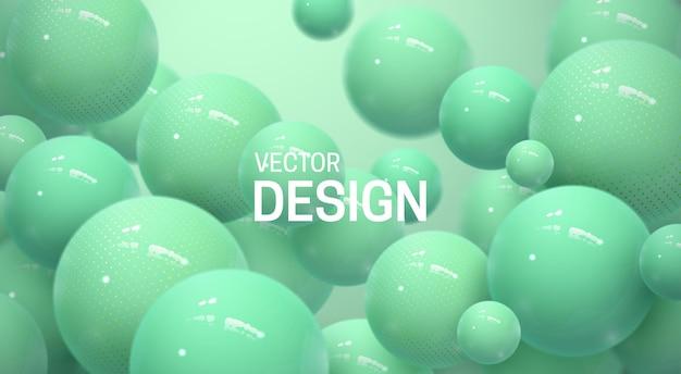Fundo abstrato com esferas 3d verdes hortelã