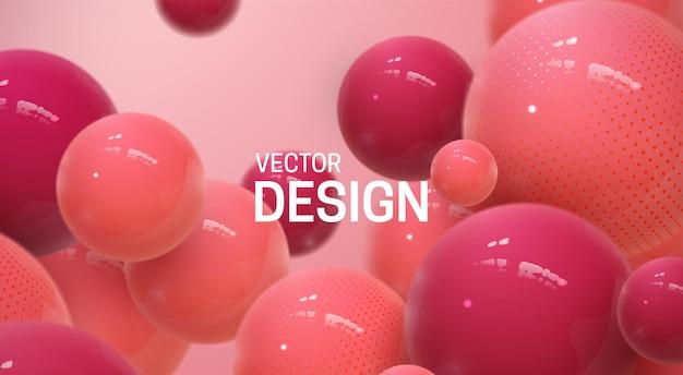 Fundo abstrato com esferas 3d vermelhas e rosa