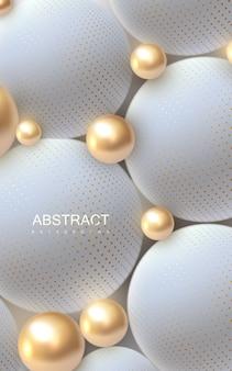 Fundo abstrato com esferas douradas e brancas 3d