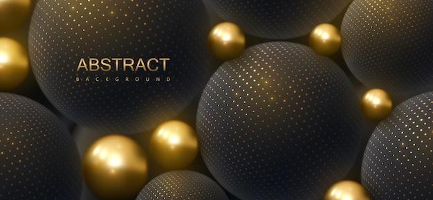 Fundo abstrato com esferas douradas e pretas 3d