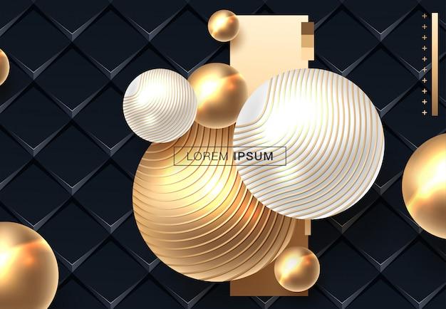 Fundo abstrato com esferas em ouro e cor preta