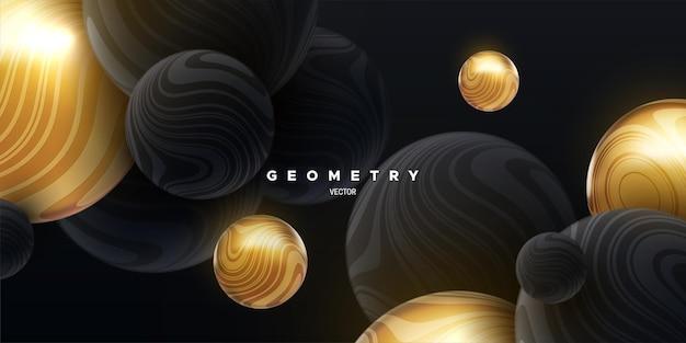 Fundo abstrato com esferas fluidas pretas e douradas texturizadas com padrão listrado ondulado