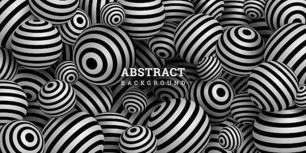 Fundo abstrato com esferas listradas em preto e branco