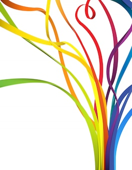 Fundo abstrato com fitas coloridas