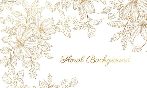 Fundo abstrato com flor dourada desenhada à mão