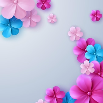 Fundo abstrato com flores de papel coloridas