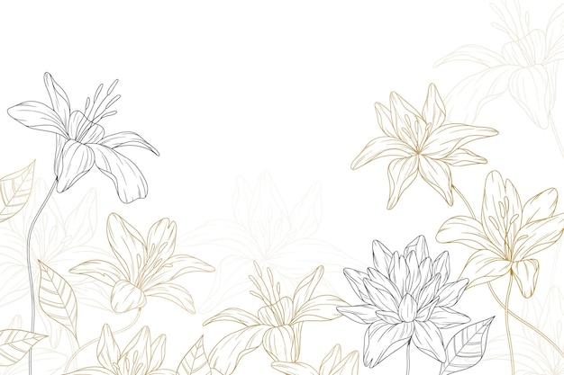 Fundo abstrato com flores desenhadas à mão