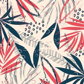 Fundo abstrato com folhas e plantas tropicais