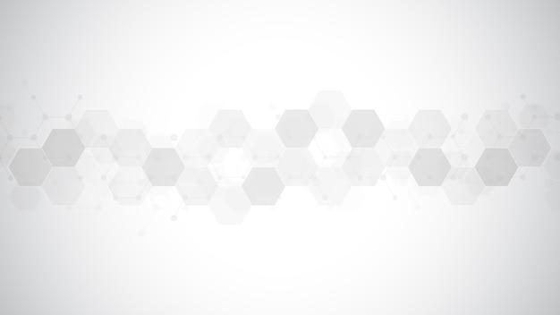 Fundo abstrato com forma de hexágonos, conceito de ciência, medicina e tecnologia