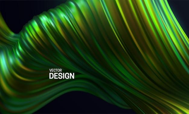 Fundo abstrato com forma ondulada listrada verde colorida