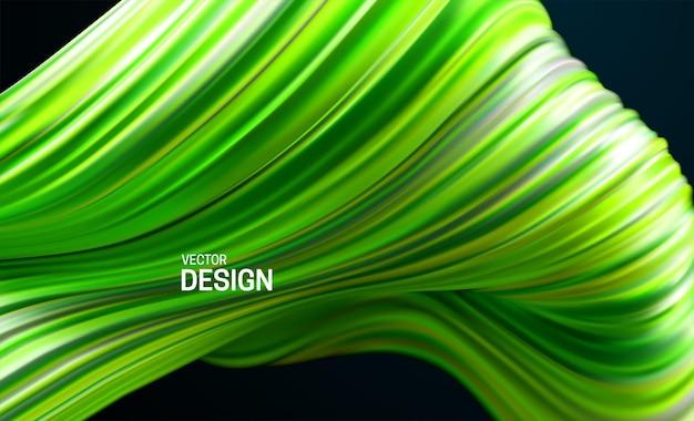 Fundo abstrato com forma ondulada listrada verde