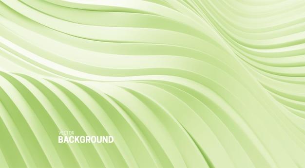 Fundo abstrato com formas curvas 3d verdes suaves de hortelã Vetor Premium