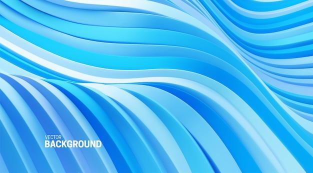 Fundo abstrato com formas curvas em azul suave em 3d