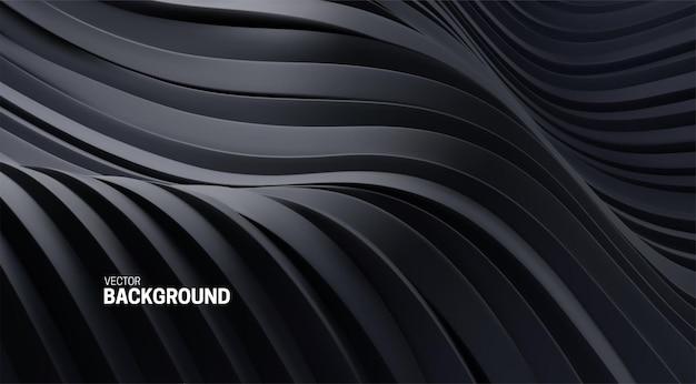 Fundo abstrato com formas curvas em preto 3d