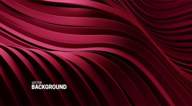 Fundo abstrato com formas curvas em vermelho escuro em 3d