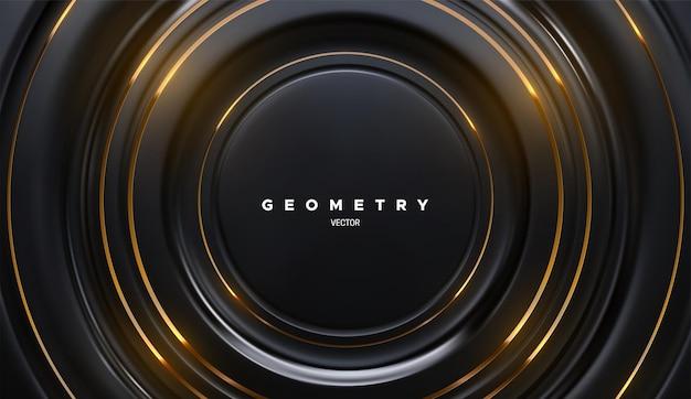 Fundo abstrato com formas de círculo preto com listras douradas