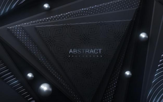 Fundo abstrato com formas de triângulo geométrico preto com brilhos de prata e padrão ondulado