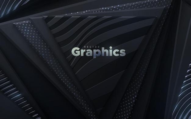 Fundo abstrato com formas de triângulo geométrico preto texturizado com brilhos de prata