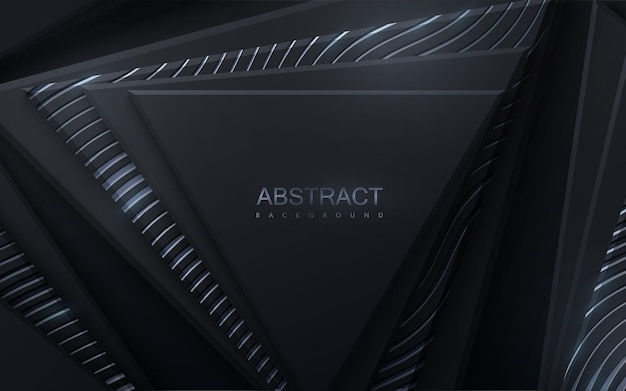 Fundo abstrato com formas de triângulo geométrico preto texturizado com padrão ondulado prateado cintilante