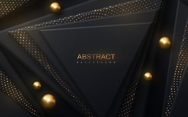 Fundo abstrato com formas de triângulo preto e brilhos dourados cintilantes