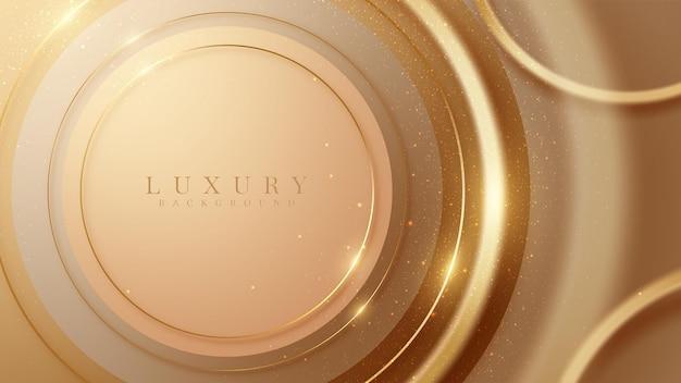 Fundo abstrato com formas elegantes de círculo marrom com elementos de linhas douradas cintilantes